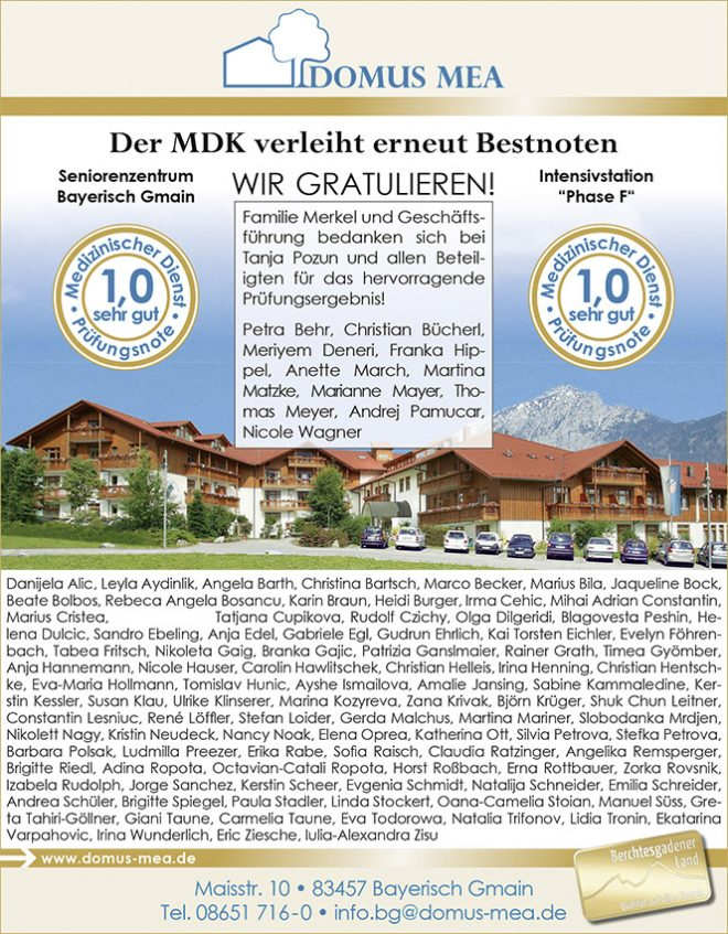 Familie Merkel und Geschäftsführung bedanken sich bei Tanja Pozun und allen Beteiligten für das hervorragende Prüfungsergebnis! © Domus Mea